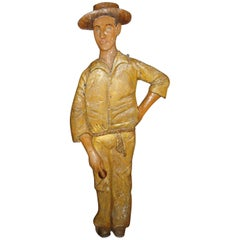 Early 20th Century Lifesize Figure of Cricketer
