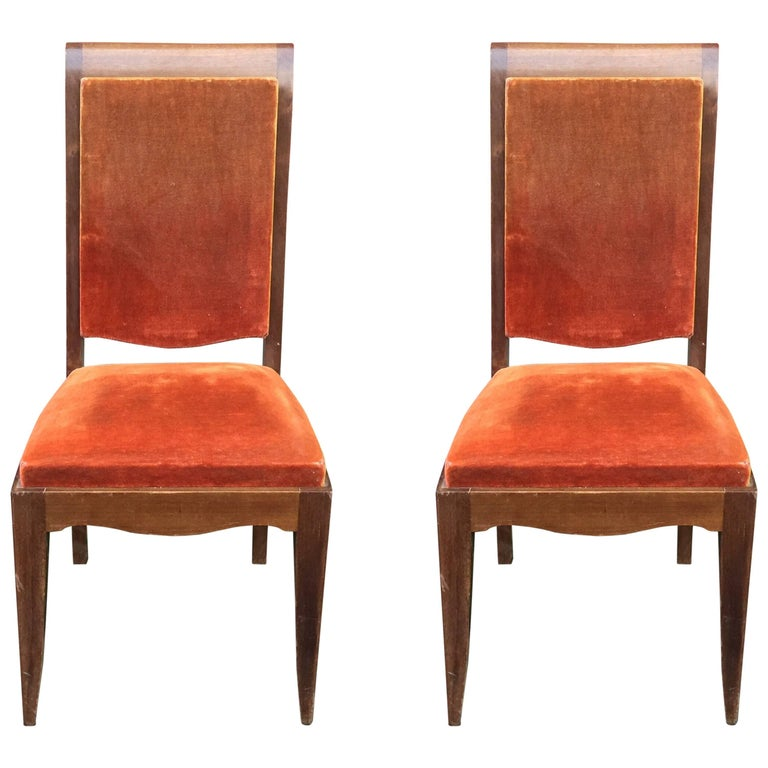 Six Gaston Poisson French Art Deco Dining Chairs