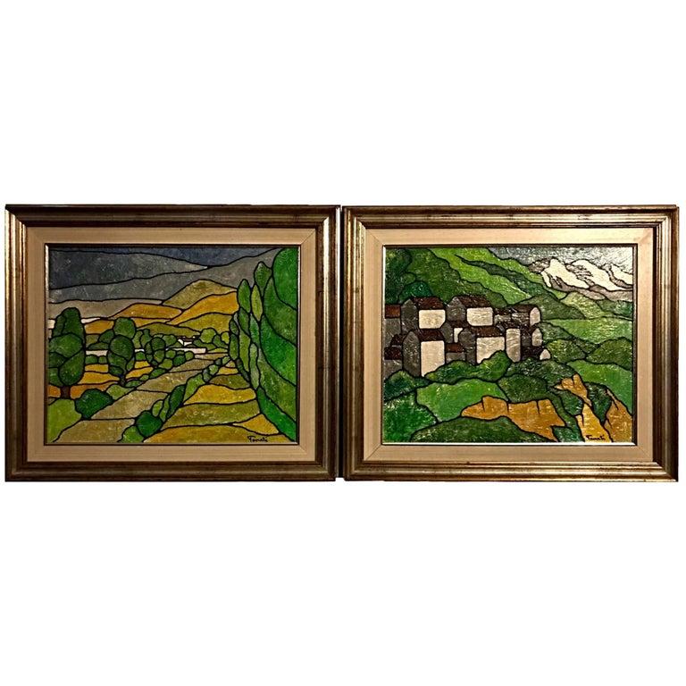 Pair of Acrylic Landscape Paintings by Italian Artist 'Tenati'