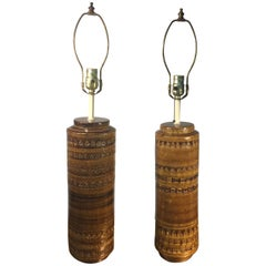 Bitossi Pottery Lamps Incised Decoration by Aldo Londi, Pair