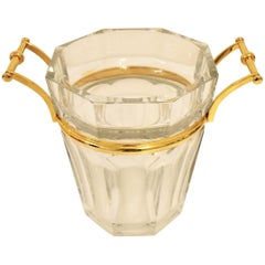 Baccarat Cut Crystal Modern Harcourt Champagne Cooler, Gilded Handles