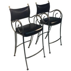 Jensen Style Brushed Steel and Brass Bar Stools