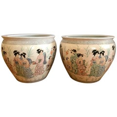 Pair of Monumental Chinese Fishbowls Planters Jardinieres Cachepots