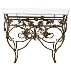 Neoclassical Custom Gold Iron and Marble Console Table