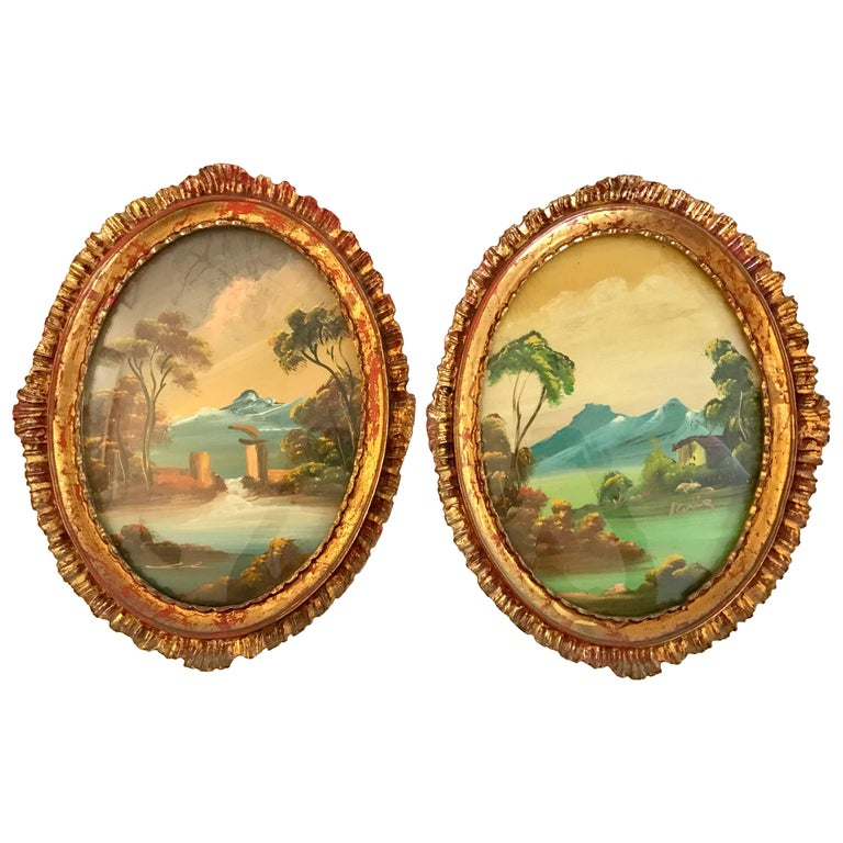 Pair of Signed Italian Oval Oil Paintings in Giltwood Frames