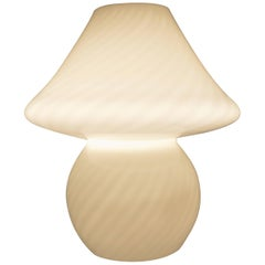 Large Murano Striated or Striped White Glass Mushroom Lamp or Light