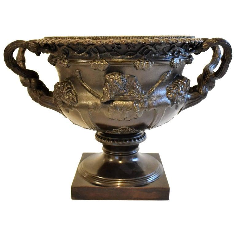 Large Warwick Vase in Bronze, Grand Tour