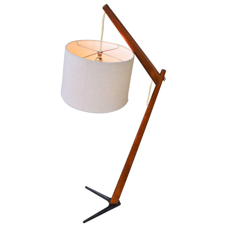 Teak & Iron V Base Danish Modern Floor Lamp, Svend Aage Holm Sorensen Attributed