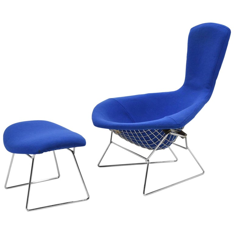 Harry Bertoia Bird Chair and Ottoman by Knoll For Sale