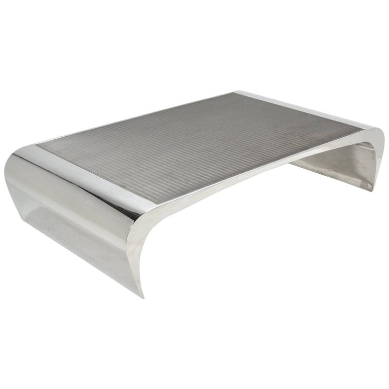 Brueton Selina K. Oversize Stainless Steel Coffee Table For Sale