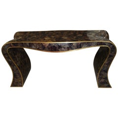 Maitland-Smith Tessellated Horn and Brass Trimmed Sculptural Console Table