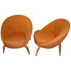 Elegant Midcentury Pair of Comfortable Angle Leg Chairs