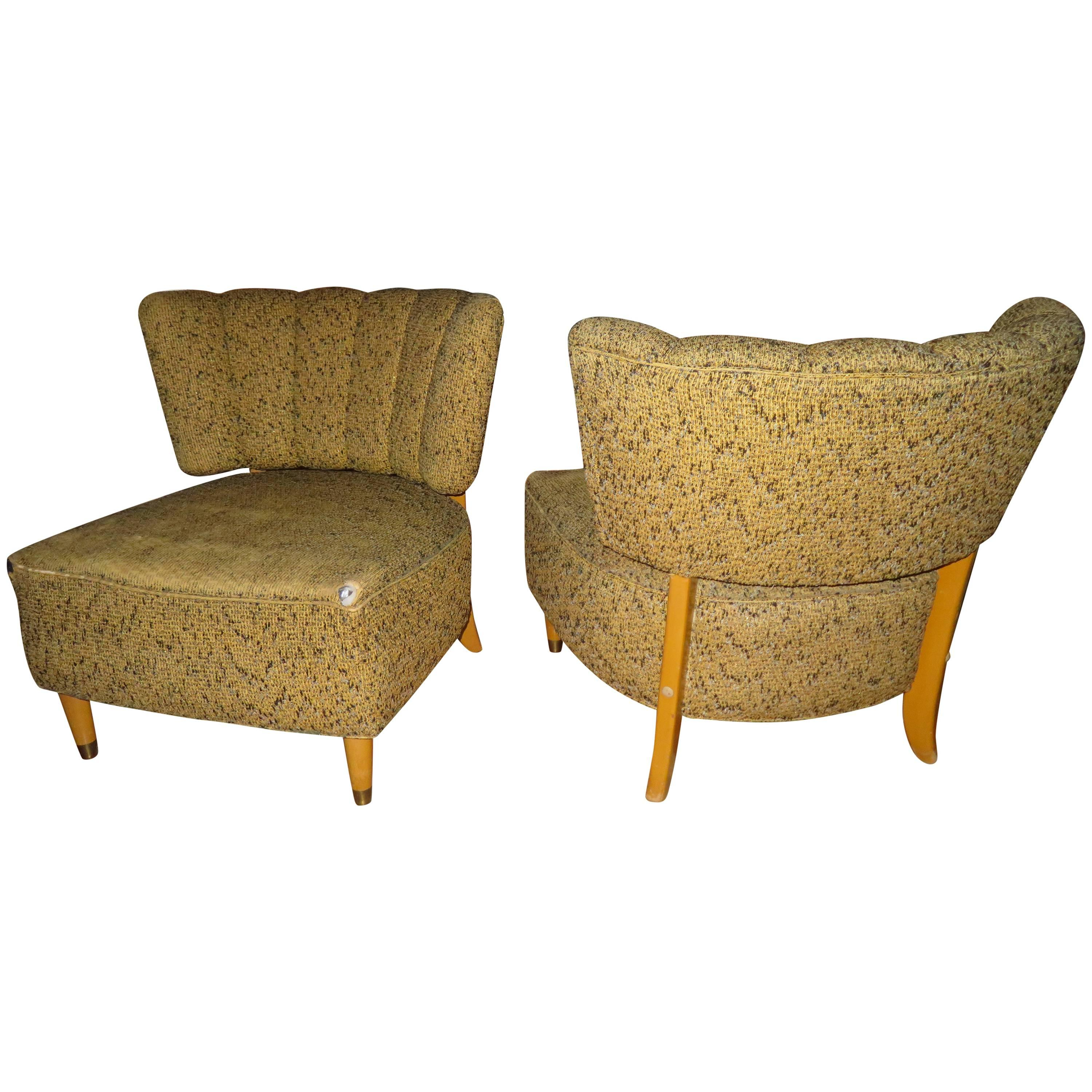 Lovely Pair of Gilbert Rohde Style Slipper Chairs, Mid-Century Modern
