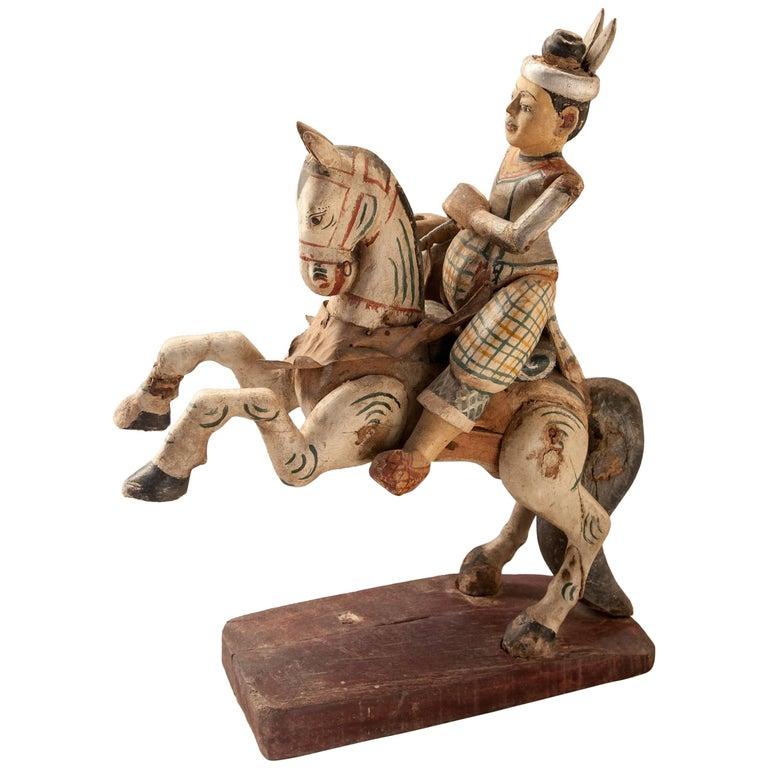 Wood Nat Spirit Figure Min Kyawzwa Burma, Early to Mid-20th Century