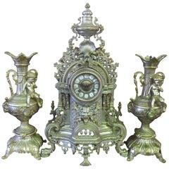 Italian Three-Piece Brass Garniture Clock Set