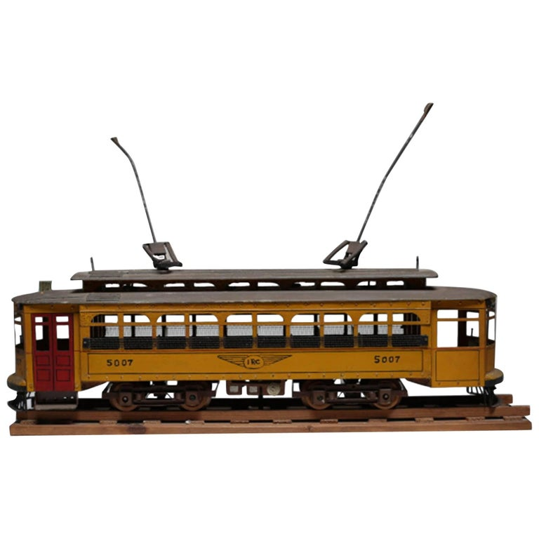 Early 20th Century Handmade Metal Streetcar Model Signed, circa 1945