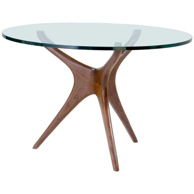 Vladimir Kagan Tri-symmetric Walnut and Glass Center/Dining Table, USA, 1960s