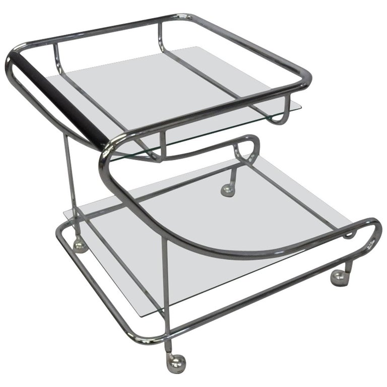 Art Deco Styled Chrome with Glass Drinks Cart 1