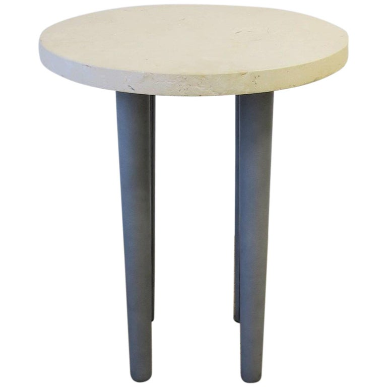 Travertine Marble and Leather Round Side or Drinks Table