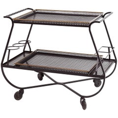 Mathieu Matégot Metal Bar Cart or Serving Table, France, 1950s