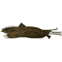 """""""Two Fishes"""" Large 1970s Brutalist Wall Sculpture"""