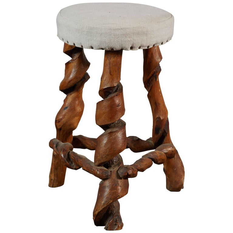 Hand Carved Sculptural Wood Stool
