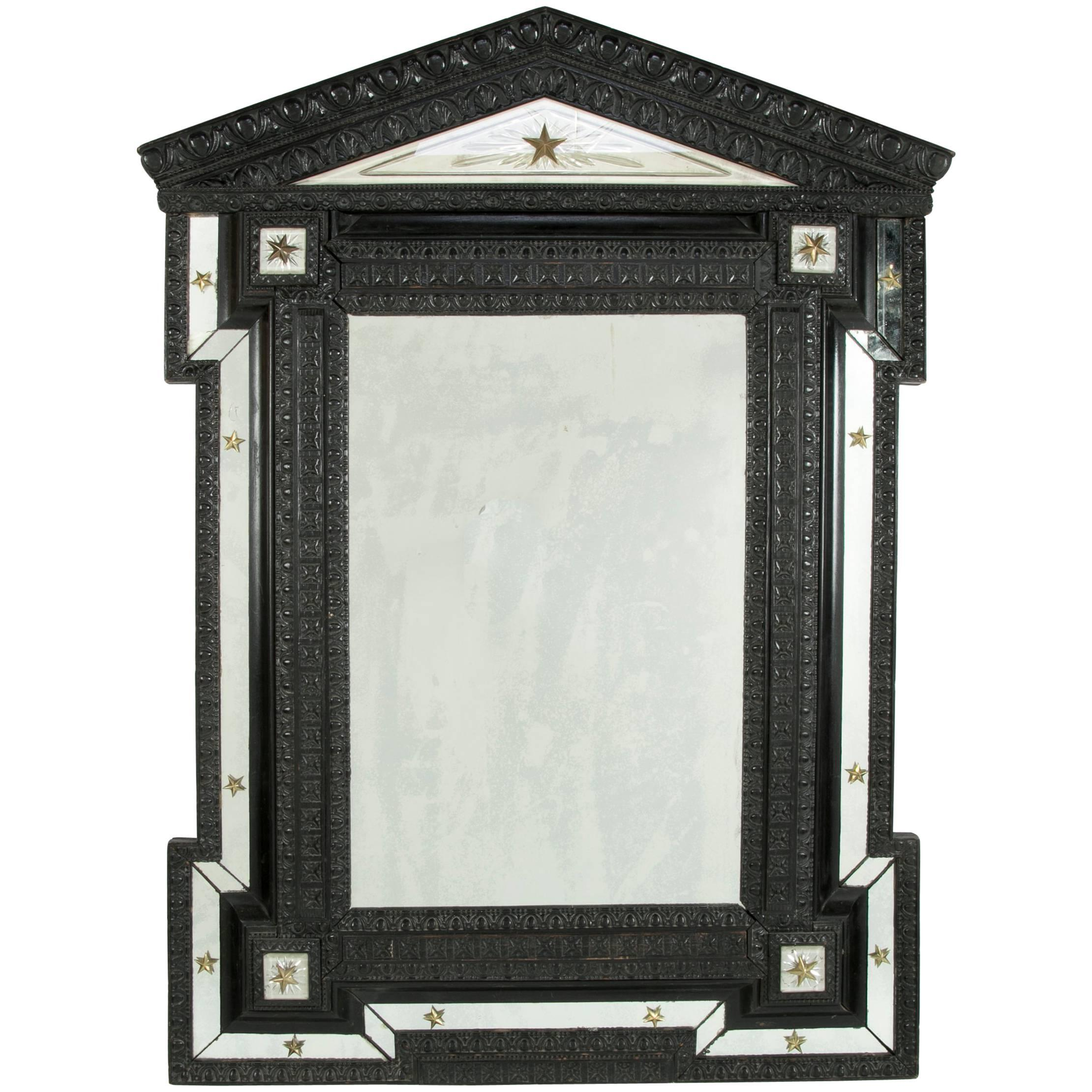19th Century Ebonized Flemish and Cut-Glass Mirror