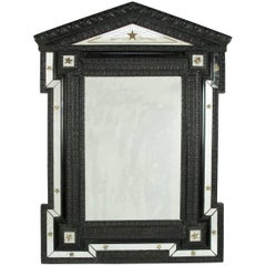 19th Century Ebonized Flemish and Cut-Glass Mirror