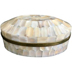 Oval Mother-of-Pearl Box with Brass Lined Interior