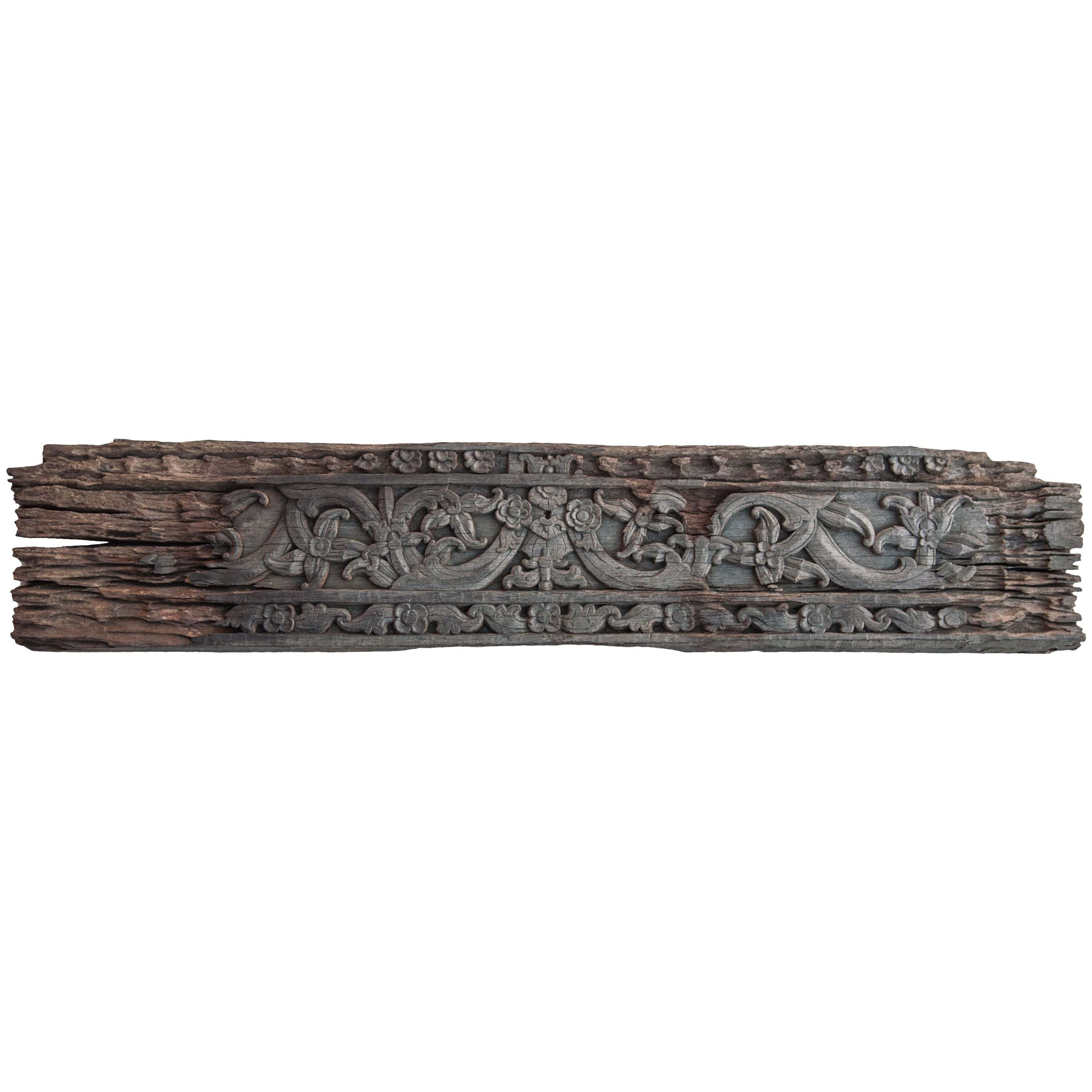 Vintage Carved Ironwood Panel with Floral Motif, Borneo, Mid-20th Century
