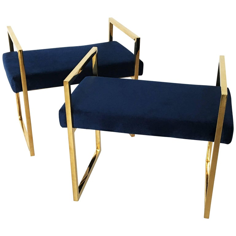Pair of Polished Brass Benches in the style of Charles Hollis Jones