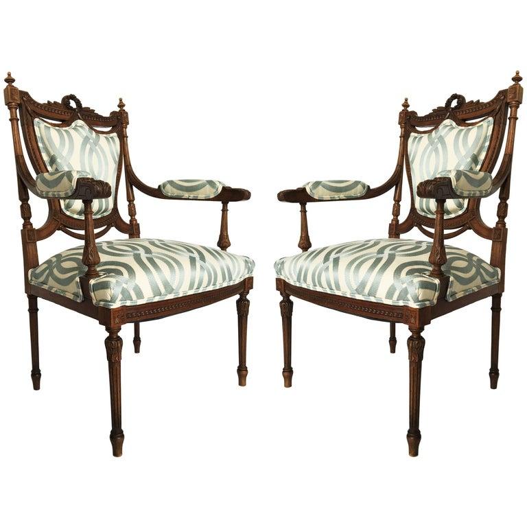 Stunning Pair of Louis XVI Chairs Attributed to Jean-Baptiste Claude Sene