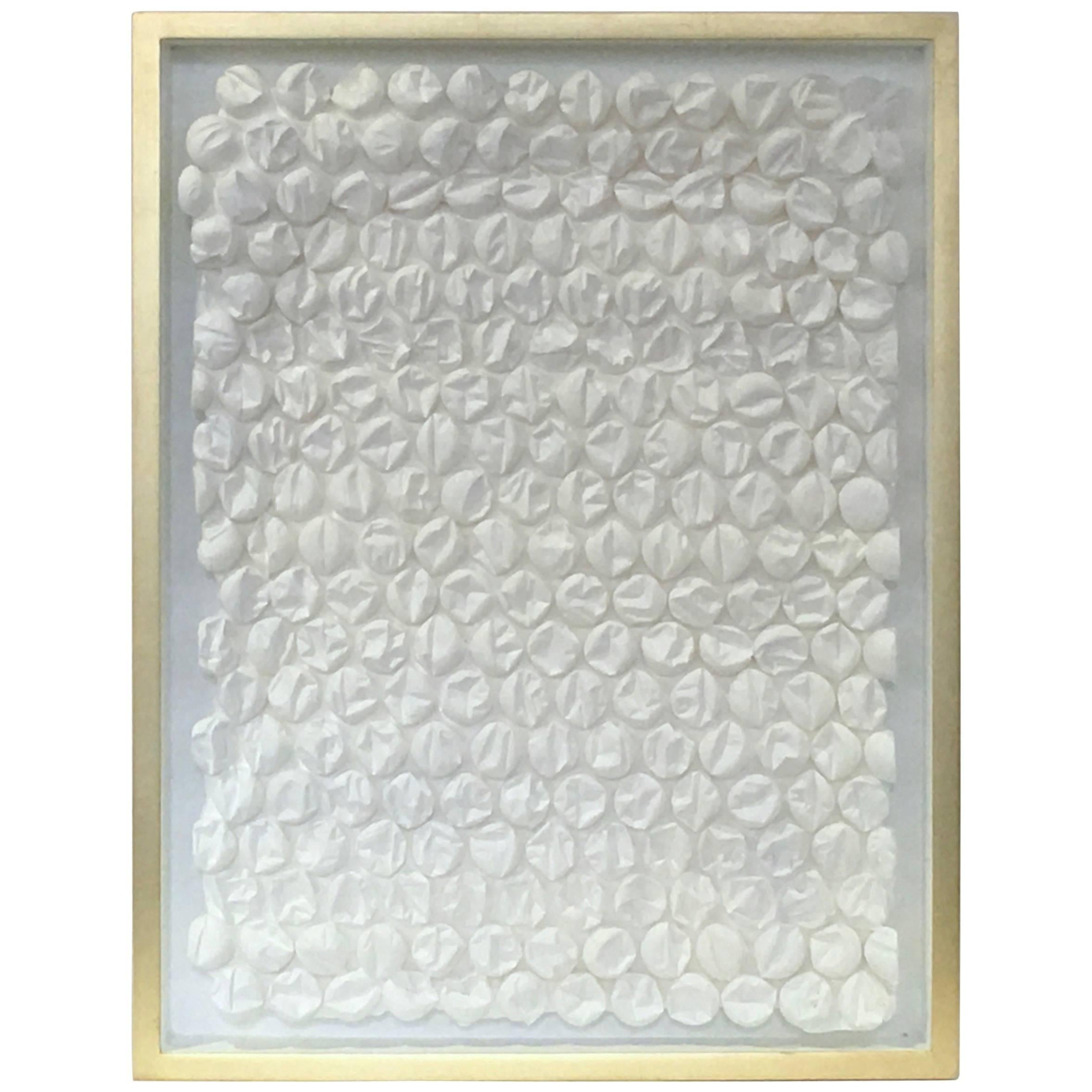 Peter Buchman  Bubble Wrap in White with Gold Leaf Frame, 2017