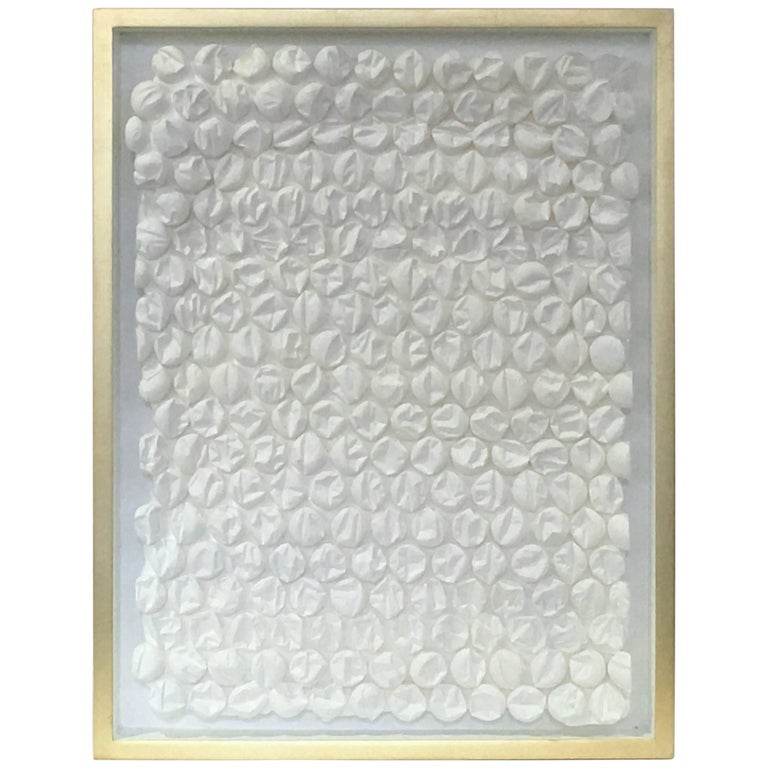 """Peter Buchman """"Bubble Wrap in White"""" with Gold Leaf Frame, 2017"""