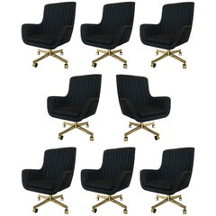 Set of Eight Ward Bennett for Brickel Associates Swivel Chairs