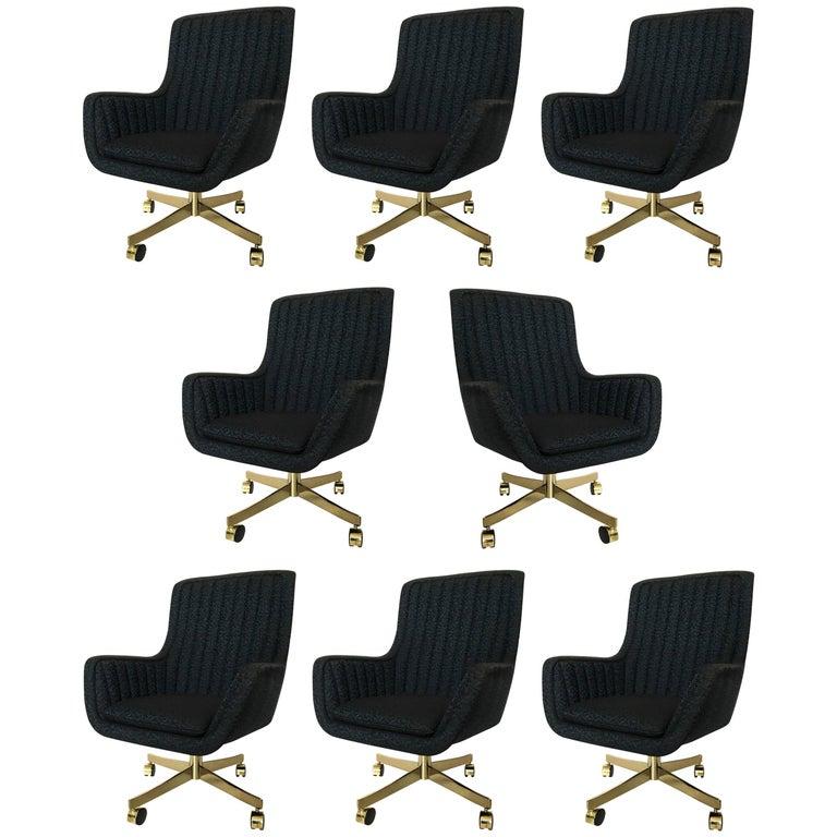 Set of Eight Ward Bennett for Brickel Associates Swivel Chairs