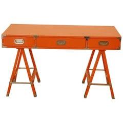 Orange Lacquered Campaign Desk