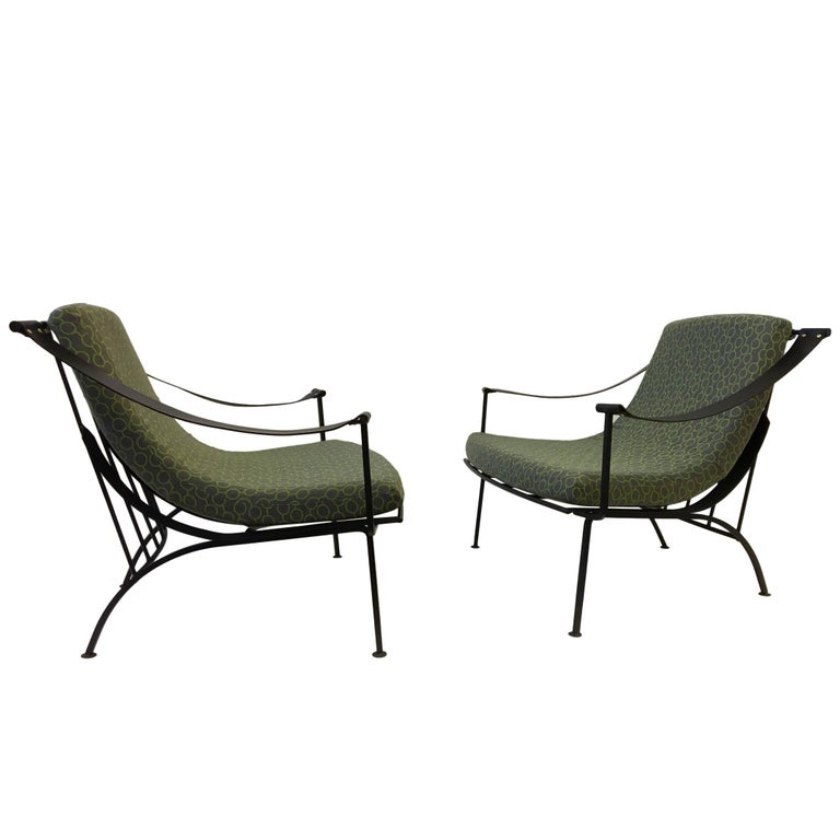 Terrific Pair Of Wrought Iron And Fabric Lounge Chairs By Russell Woodard Squirreltailoven Fun Painted Chair Ideas Images Squirreltailovenorg