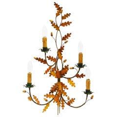 Midcentury Wall Light Sconce Large French Toleware Oak Leaf Acorns