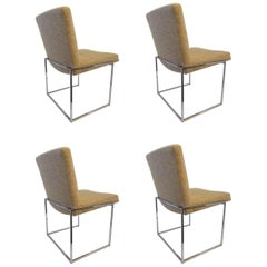 "Set of Four Chrome ""Thin Line"" Dining Chairs by Milo Baughman for Thayer Coggin"