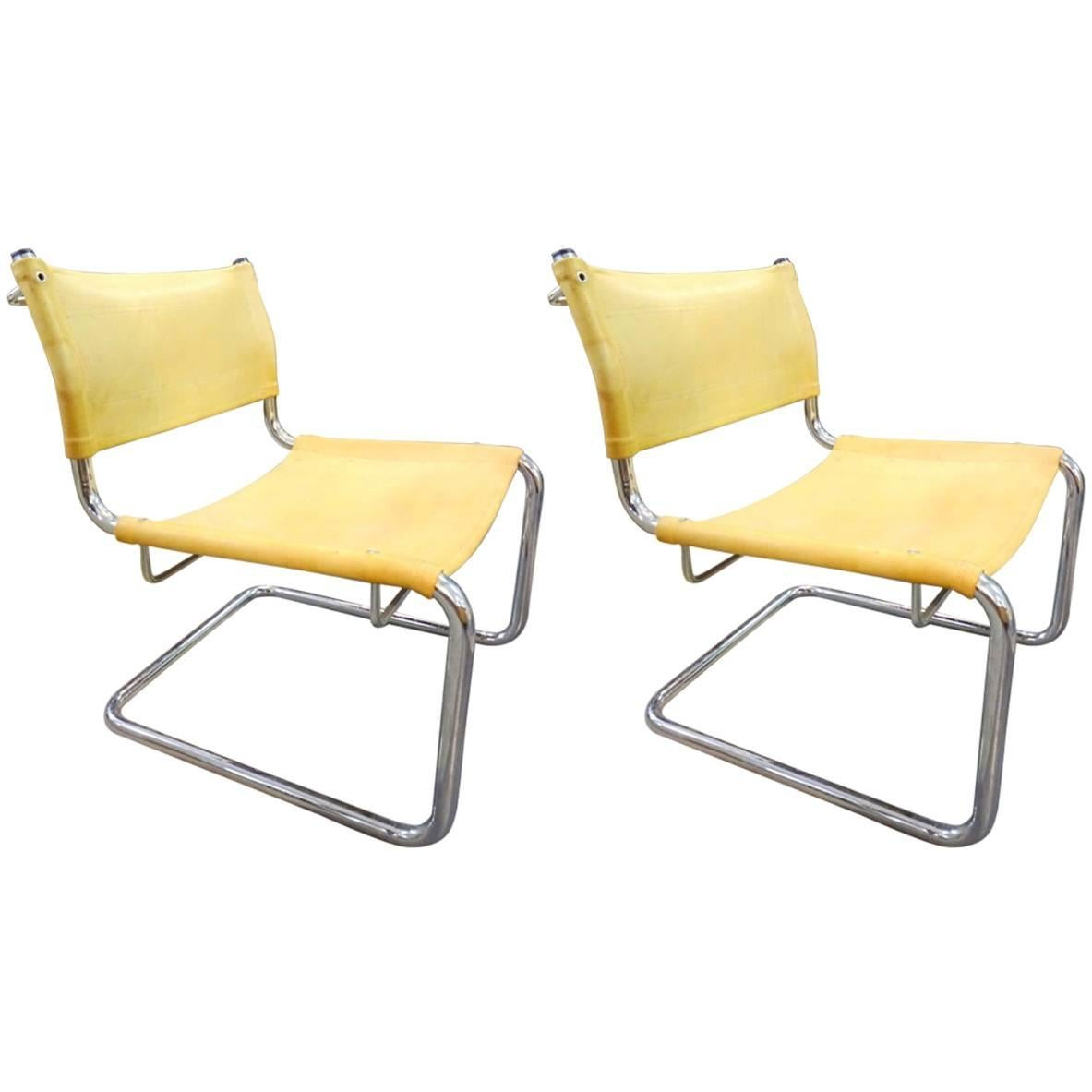 Pair of Leather Tubular Chairs