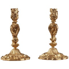 Napoleon III Pair of Gilt Bronze Candlesticks in Louis XV Style