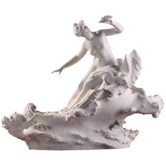 Early 20th Century Sevres Bisque Sculpture Venus Riding a Triton by Paul Ducuing