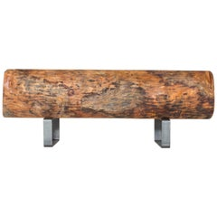 21st Century Almendro Wood Black Steel Coffee Table or Seat by Herbeh Wood