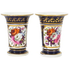 Antique Pair of Royal Blue Regency English Spill Vases, Early 19th Century