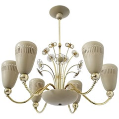 Lightolier Six-Arm Brass Chandelier Attributed to Paavo Tynell, 1950s, USA