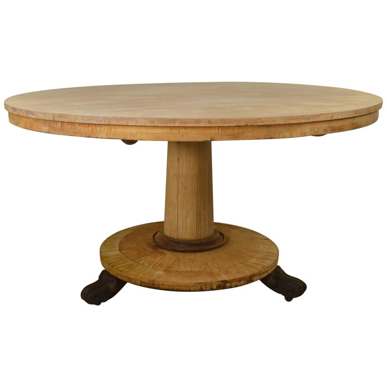 Large round antique bleached dining table english regency for Large round dining table for sale