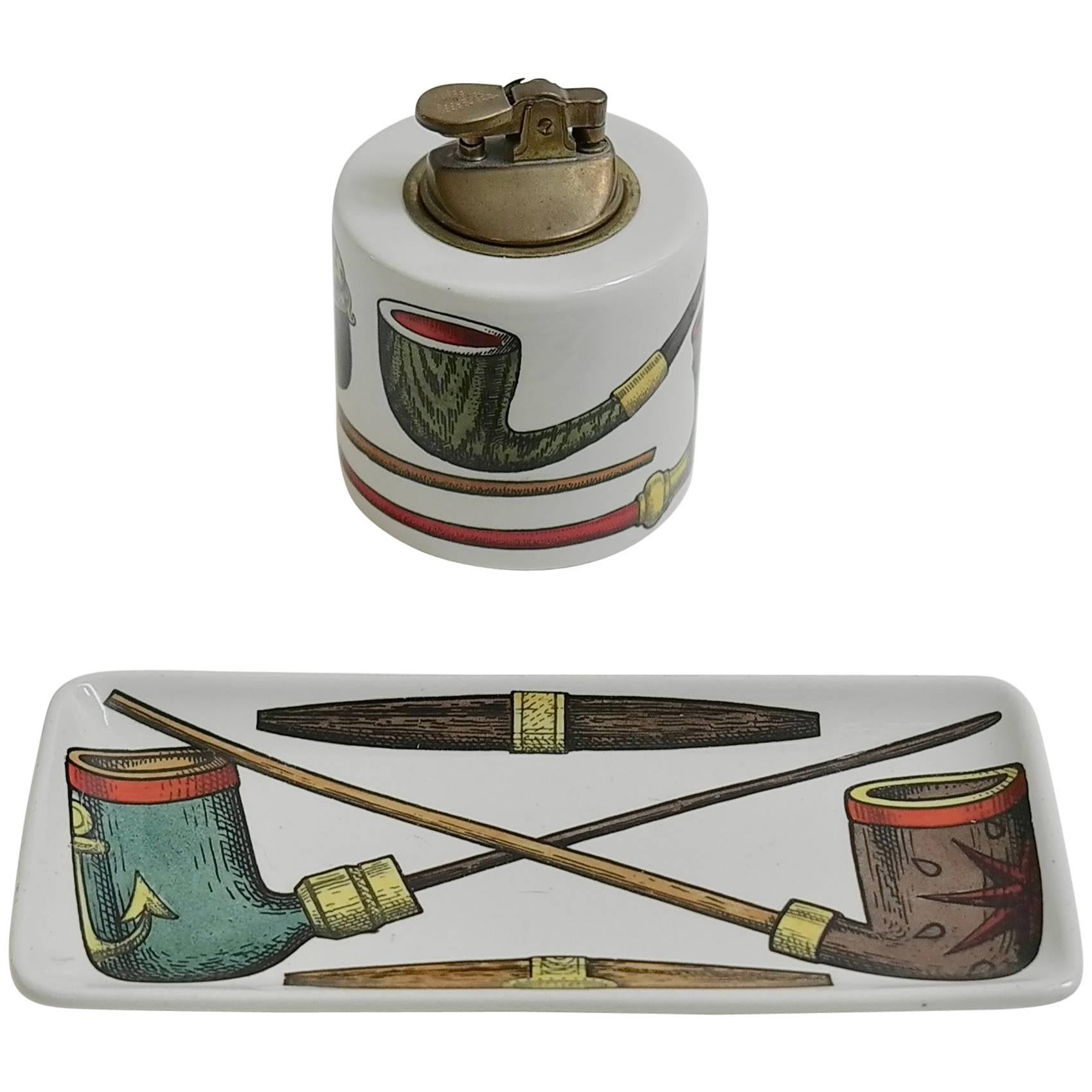 """Piero Fornasetti """" Pipes"""" Smoking Set, Table Lighter and Tray"""