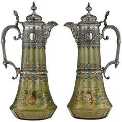 Antique German Solid Silver and Enamel Glass Pair of Claret Jugs, circa 1890