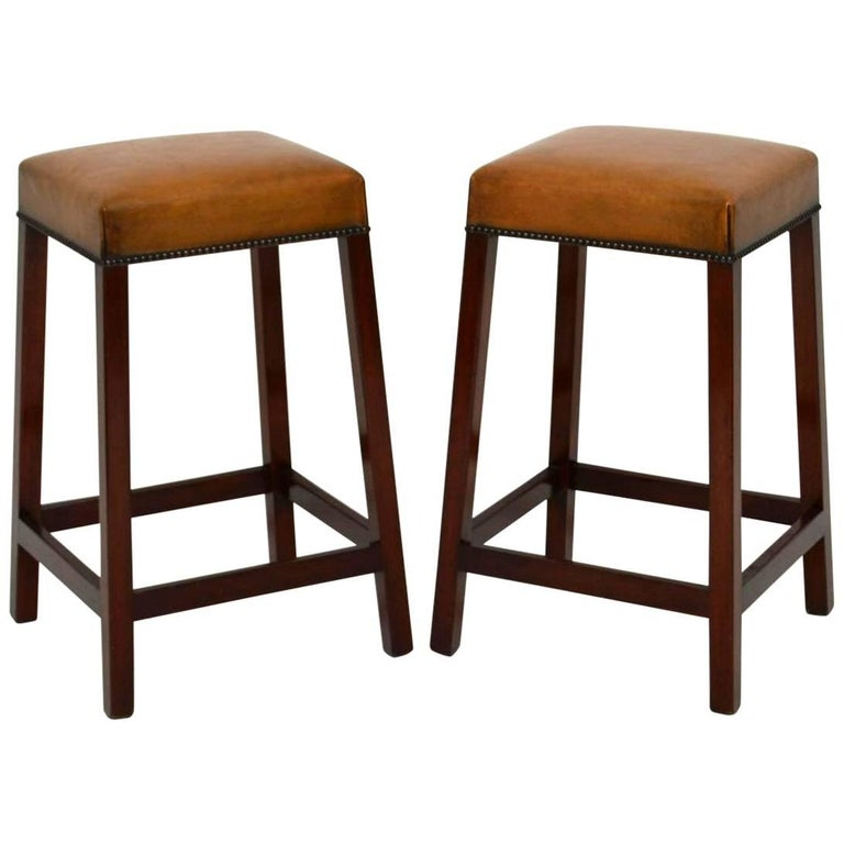 Pair Of Antique Leather And Mahogany Bar Stools At 1stdibs